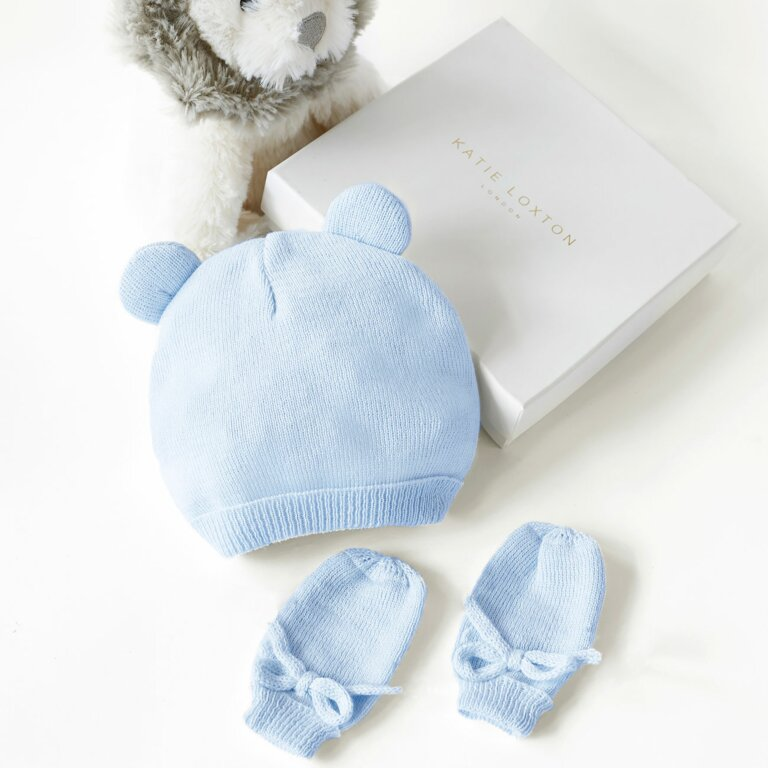 Beautifully Boxed Fine Knit Baby Hat And Mittens In Blue