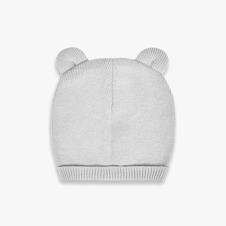 Beautifully Boxed Fine Knit Baby Hat And Mittens In Grey