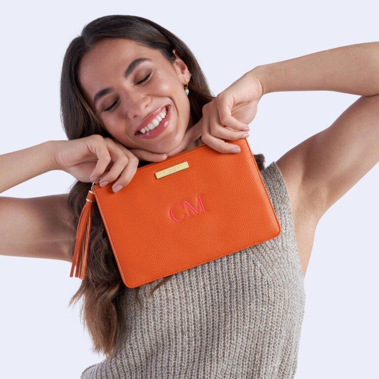 Sophia Tassel Pouch In Burnt Orange