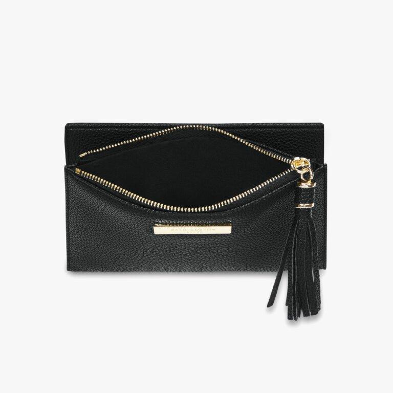 Sophia Tassel Fold Out Purse In Black