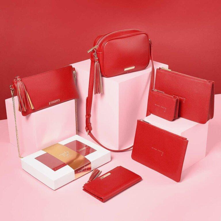 Sophia Tassel Fold Out Purse In Red
