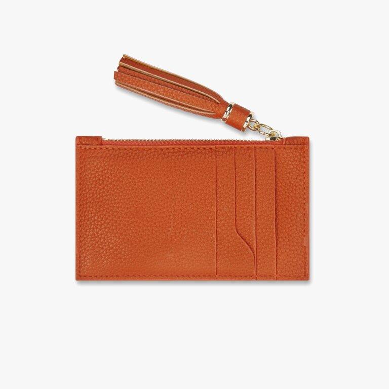Sophia Tassel Card Holder In Burnt Orange