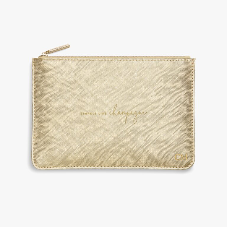 Perfect Pouch Sparkle Like Champagne In Metallic Gold