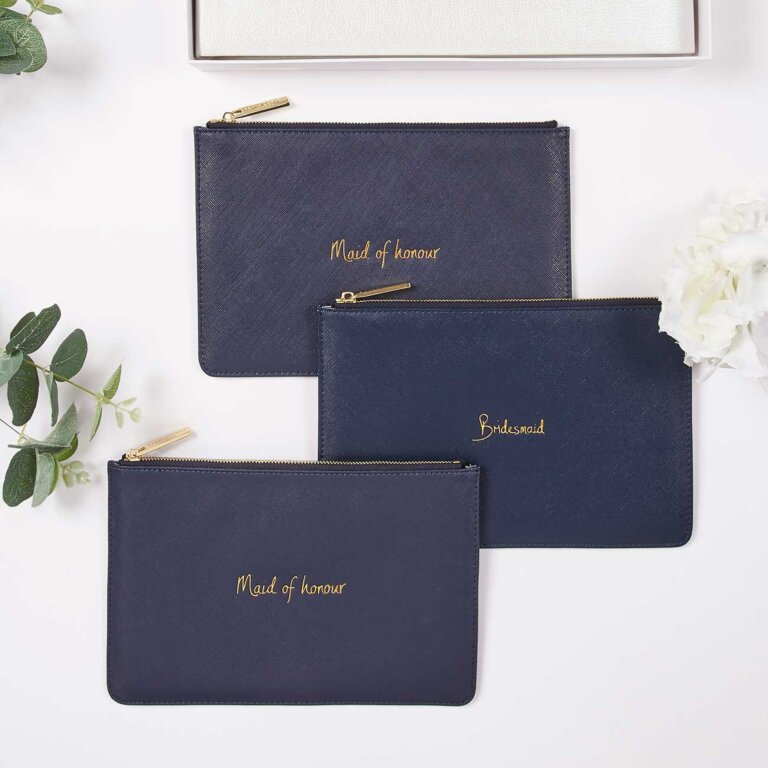 Perfect Pouch Maid Of Honour In Navy Blue