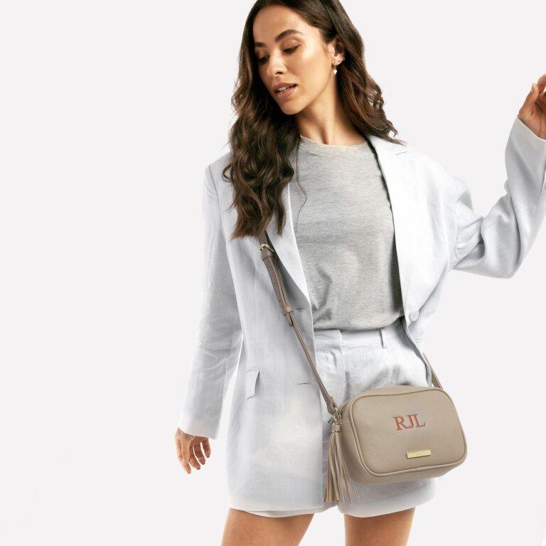 Sophia Tassel Crossbody Bag In Taupe