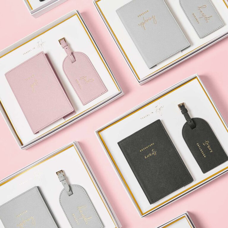 Boxed Passport Holder And Luggage Tag Set Adventure Awaits In Black