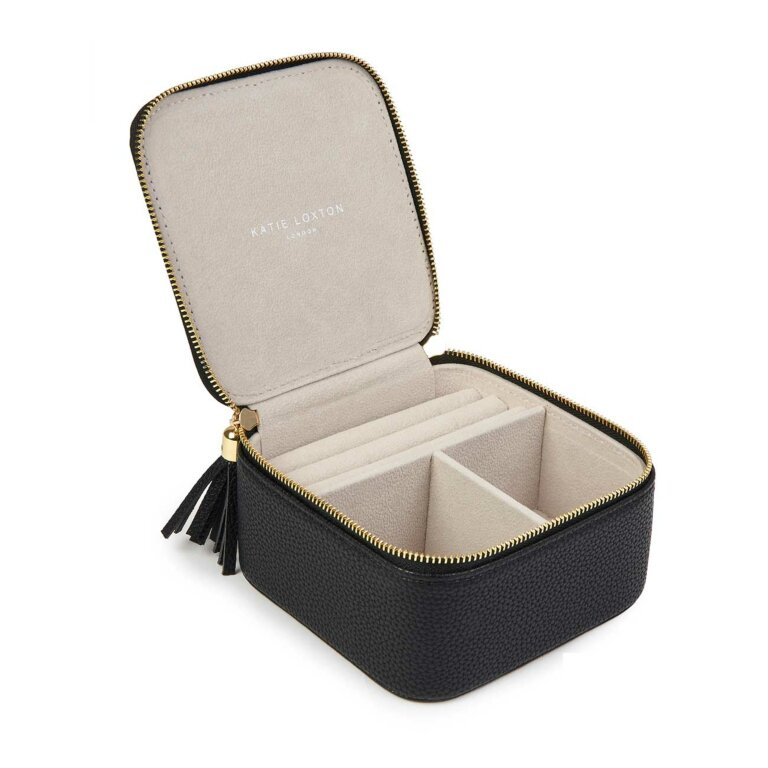 Tassel Square Jewellery Box Sparkle Shimmer Shine In Black
