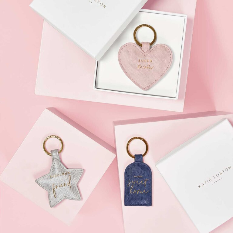 Beautifully Boxed Sentiment Keyring Super Mum In Nude Pink