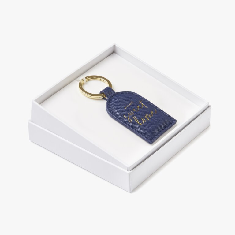 Beautifully Boxed Sentiment Keyring Home Sweet Home In Navy