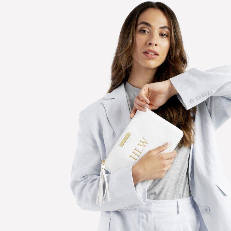 Sophia Tassel Pouch In White