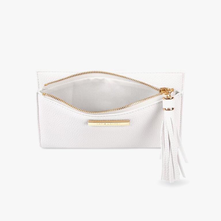 Sophia Tassel Fold Out Purse In White