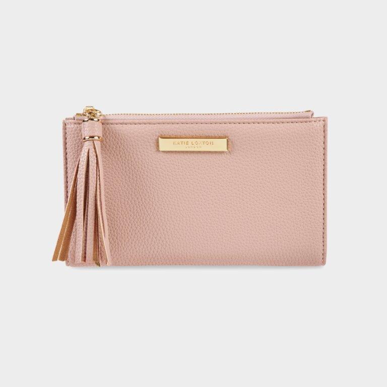 Sophia Tassel Fold Out Purse In Pale Pink