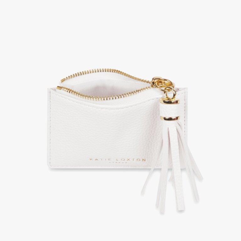 Sophia Tassel Coin/Card Purse In White