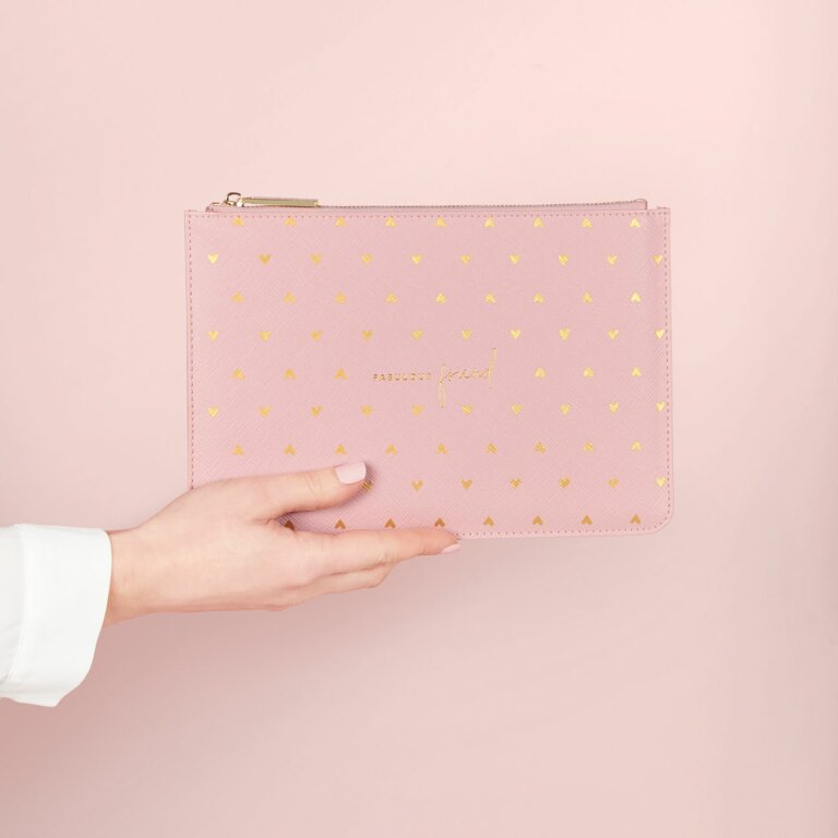 Gold Print Perfect Pouch Fabulous Friend In Pink