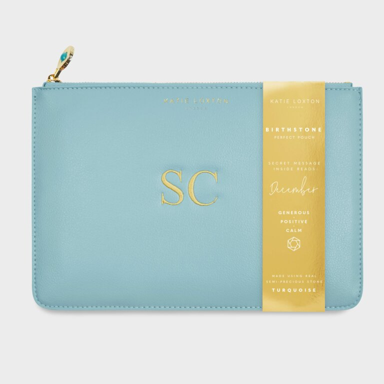Birthstone Perfect Pouch December In Turquoise Duck Egg Blue