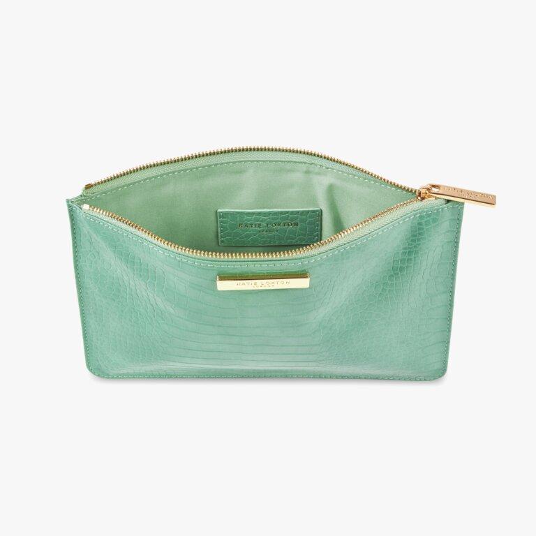 Celine Faux Croc Perfect Pouch In Mint Green
