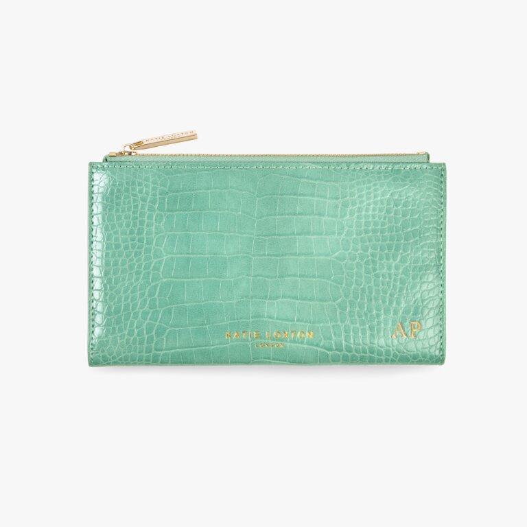Celine Faux Croc Fold Out Purse In Mint Green
