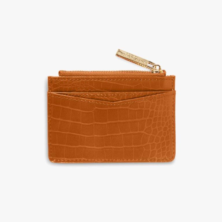 Celine Faux Croc Card Holder In Cognac