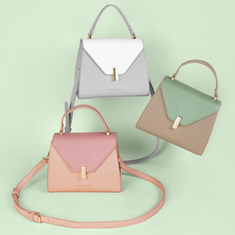 Casey Top Handle Bag In Sand And Mint Green