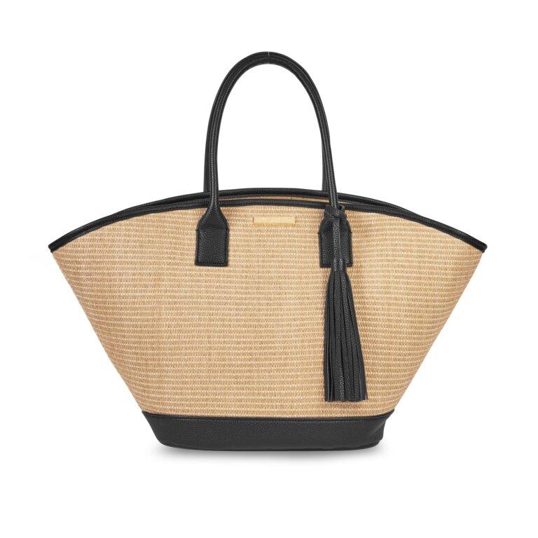 Maya Beach Bag In Black And Natural