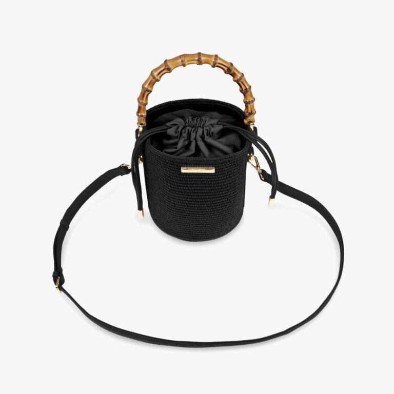 Jourdan Cylinder Bamboo Straw Bag In Black