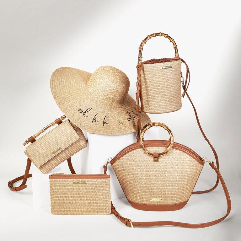 Gigi Straw Bamboo Handle Crossbody Bag In Cognac And Natural