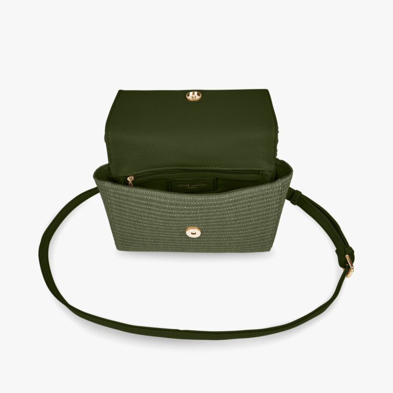 Gigi Straw Bamboo Handle Crossbody Bag In Khaki