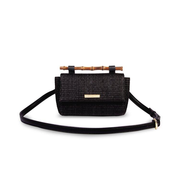 Gigi Straw Bamboo Handle Crossbody Bag In Black