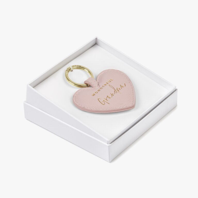 Beautifully Boxed Sentiment Heart Keyring Wonderful Grandma In Blush Pink