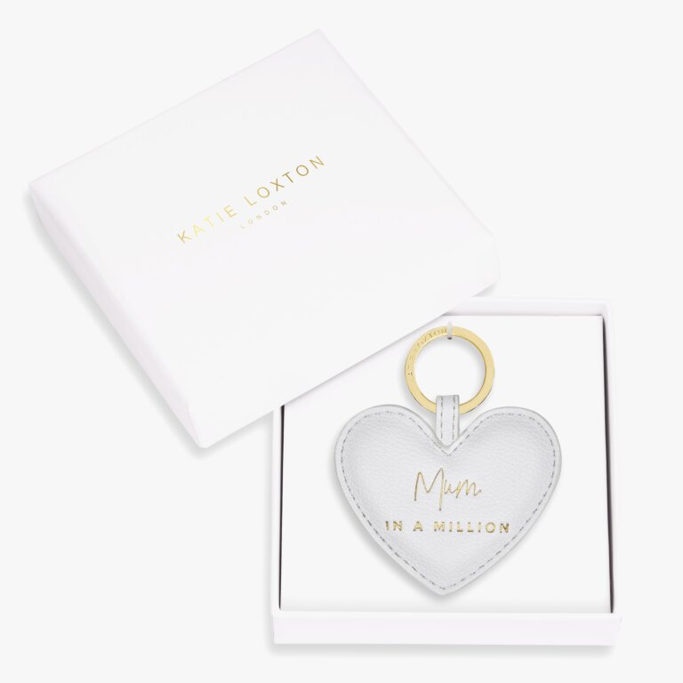Beautifully Boxed Sentiment Heart Keyring Mum In A Million In Grey