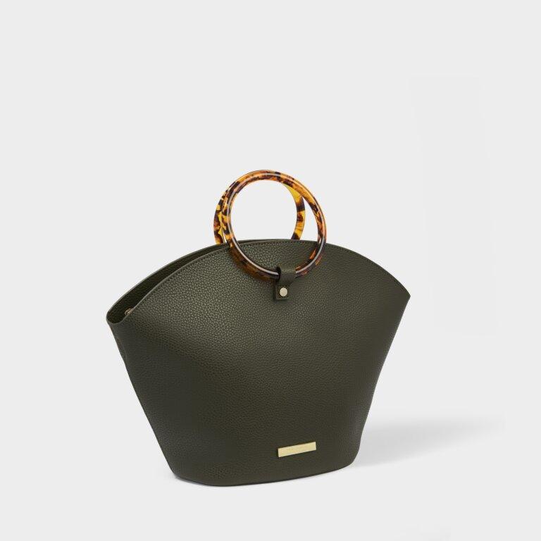 Capri Round Handle Bag in Khaki