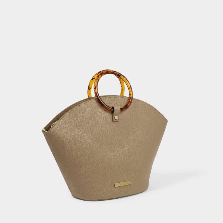 Capri Round Handle Bag in Taupe