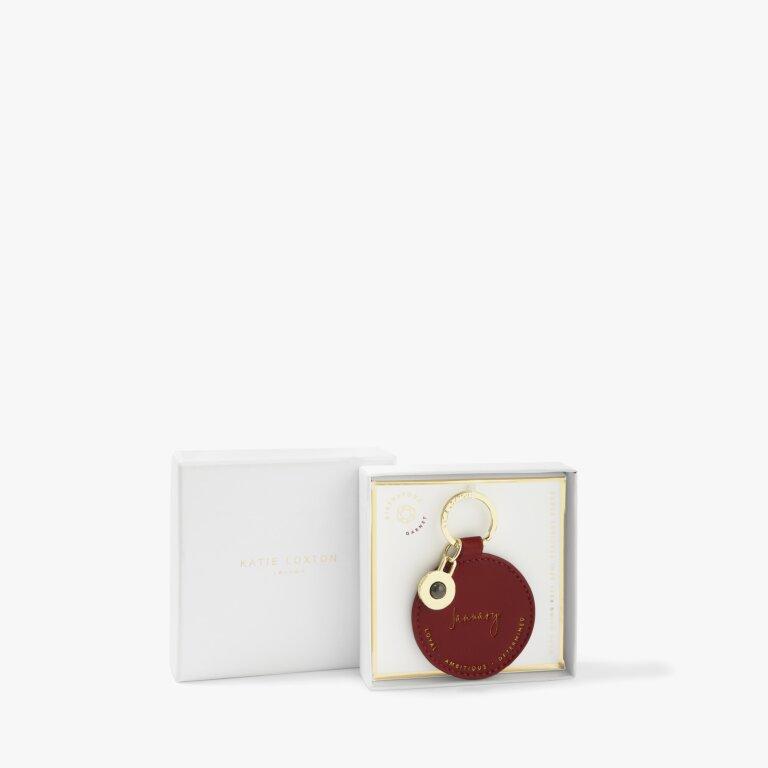 Birthstone Keyring January Garnet in Dark Red