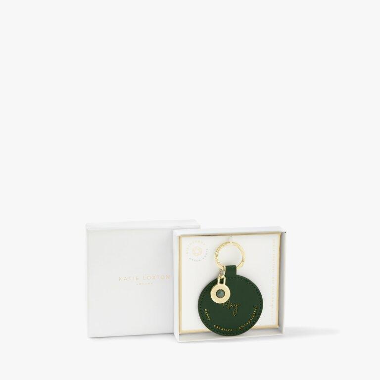 Birthstone Keyring May Green Agate in Dark Green