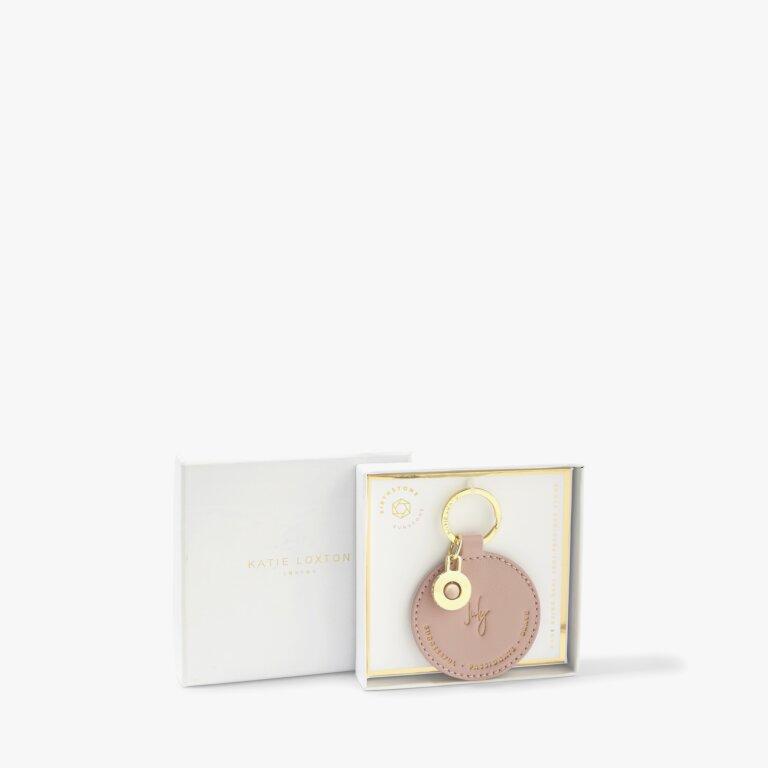 Birthstone Keyring July Sunstone in Blush Pink