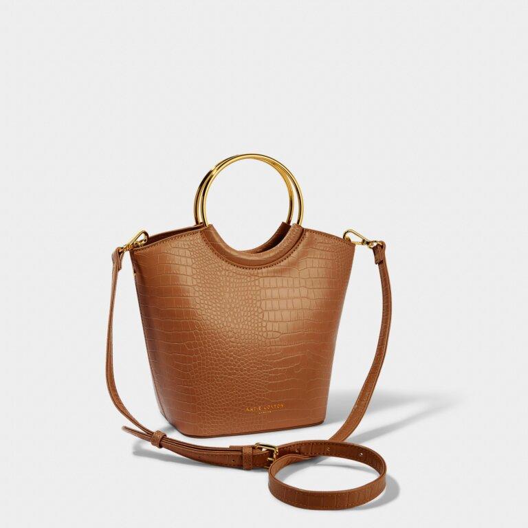 Hallie Hoop Faux Croc Bag in Cognac