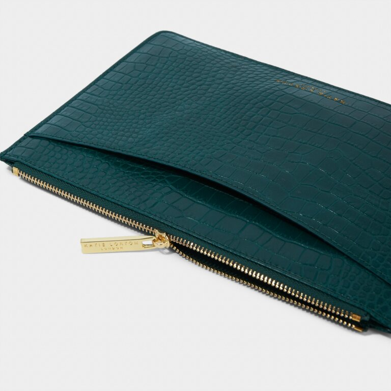 Cara Curve Pouch in Forest Green