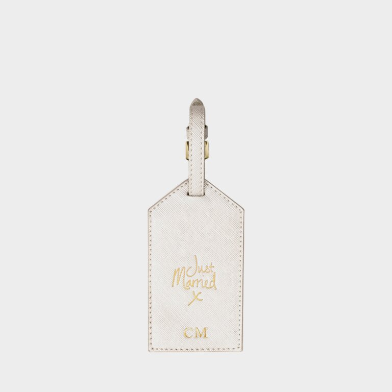 Luggage Tag Just Married In Metallic White