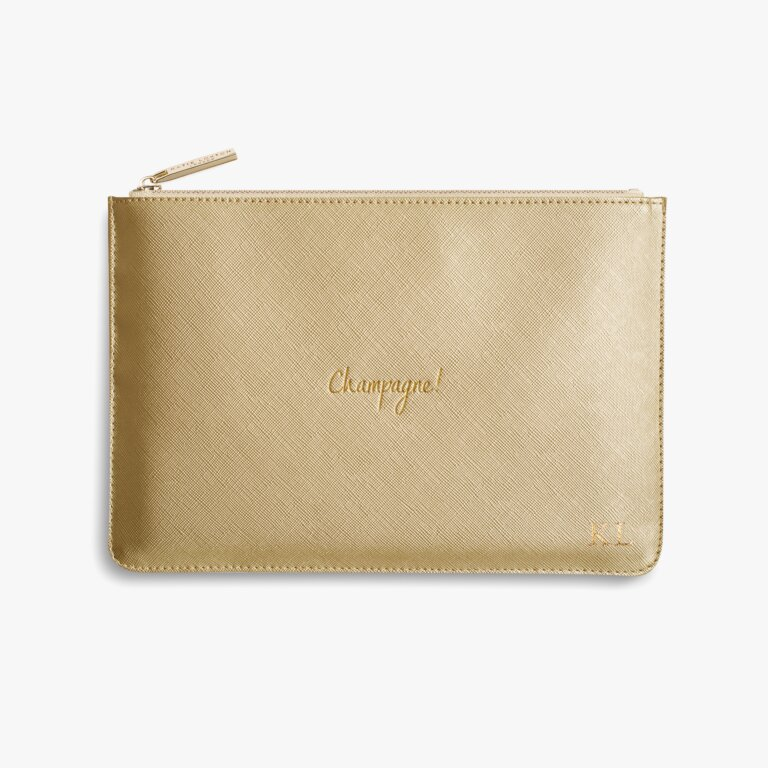 Perfect Pouch Champagne! In Metallic Gold