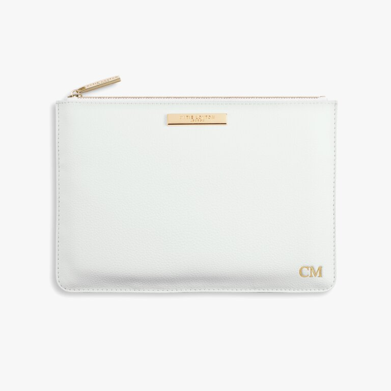 Soft Pebble Perfect Pouch In White