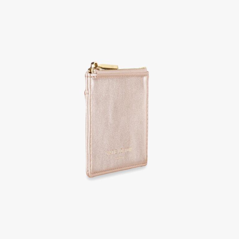 Alexa Metallic Card Holder In Metallic Rose Gold