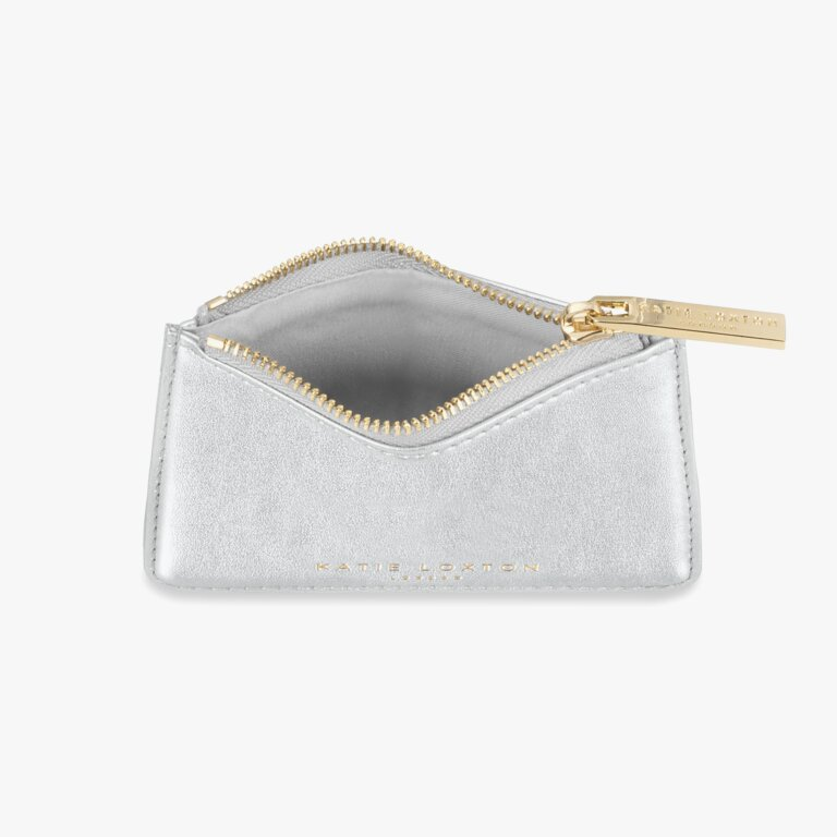 Alexa Metallic Card Holder In Metallic Silver