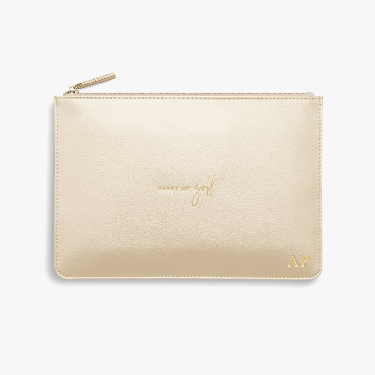 Perfect Pouch Heart Of Gold In Metallic Champagne