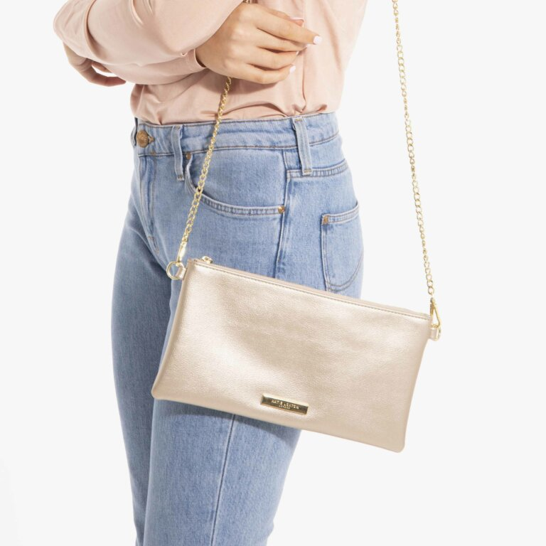 Freya Crossbody Bag In Metallic Champagne