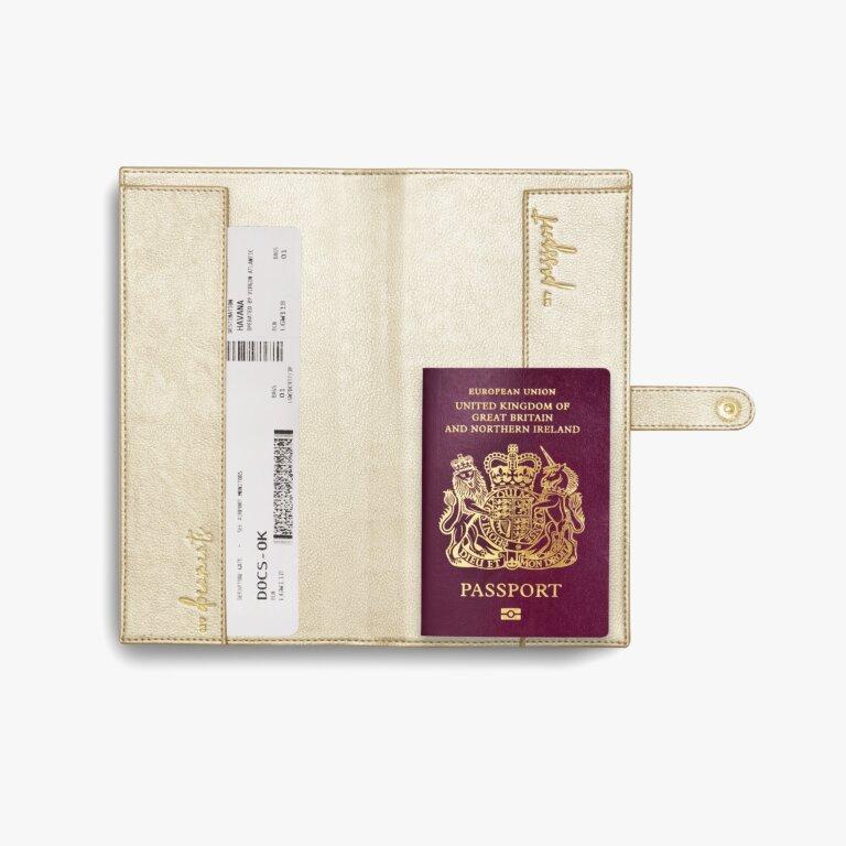 Travel Wallet Live, Love, Adventure In  Metallic Champagne