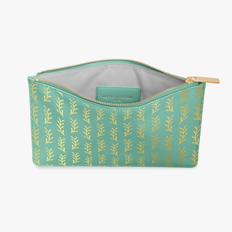 Perfect Pouch Leaf Print In Seafoam Green