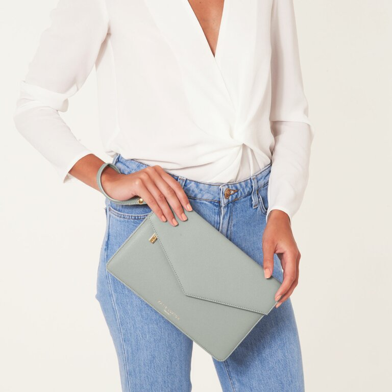 Esme Envelope Clutch Bag In Grey