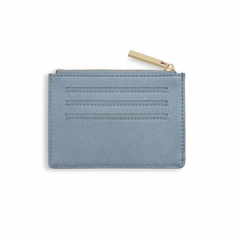 Wave Print Card Holder | Metallic Blue