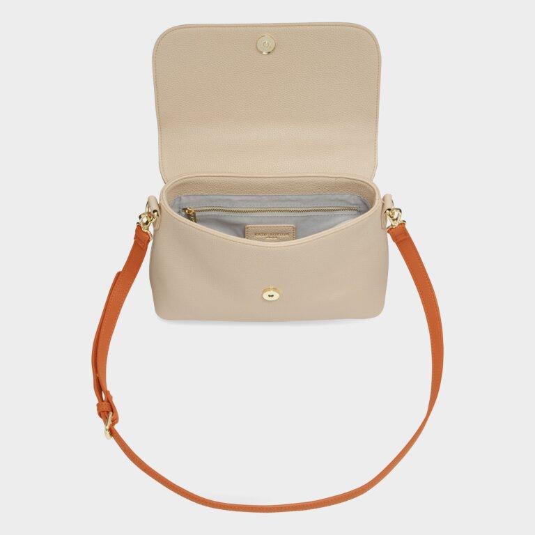 Talia Two Tone Messenger Bag In Burnt Orange And Tan