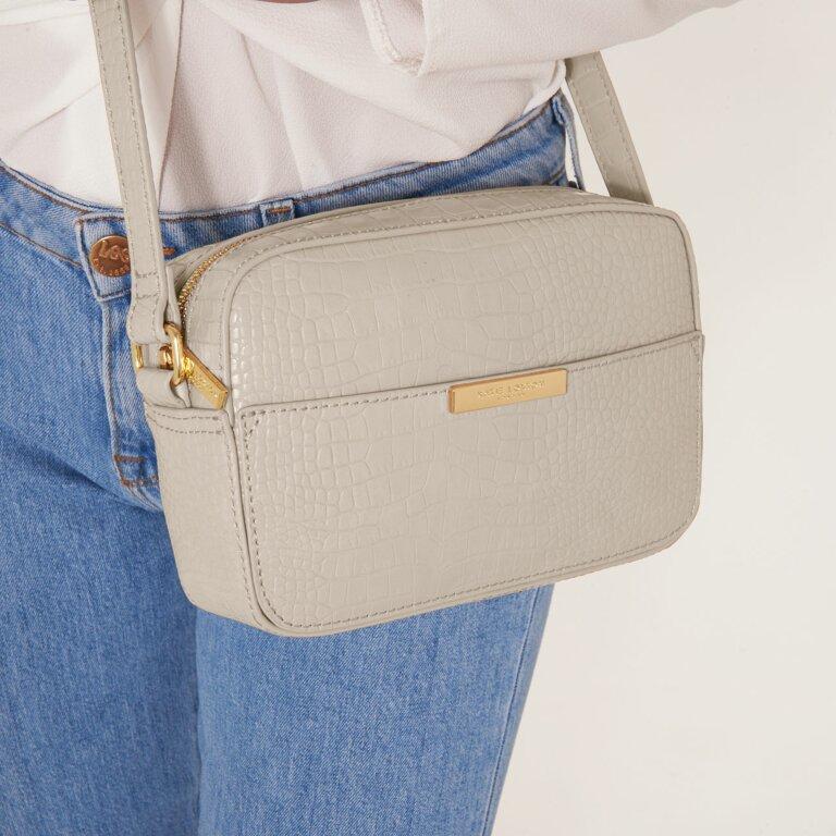 Celine Faux Croc Crossbody Bag In Oyster Grey